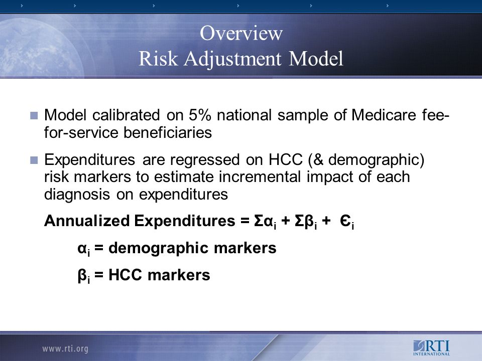 Overview Risk Adjustment Model