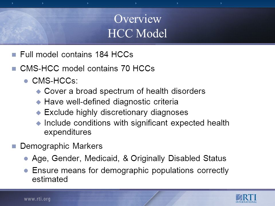 Overview HCC Model Full model contains 184 HCCs