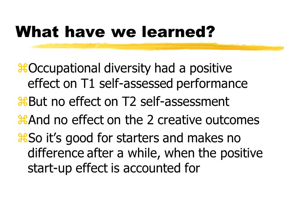 What have we learned Occupational diversity had a positive effect on T1 self-assessed performance.