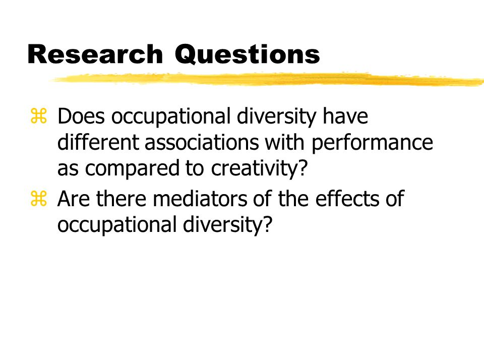 Research Questions Does occupational diversity have different associations with performance as compared to creativity