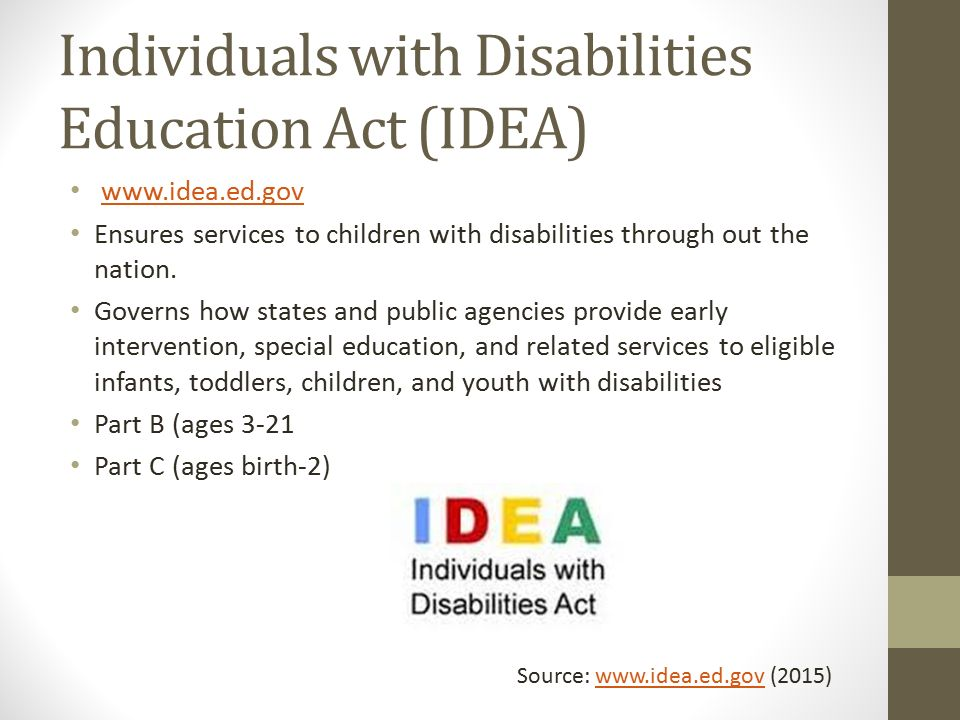idea individual with disabilities education act essay Individuals with disabilities education act essaysone of the great benefits of  living  idea was implemented children with special education needs were  given a.