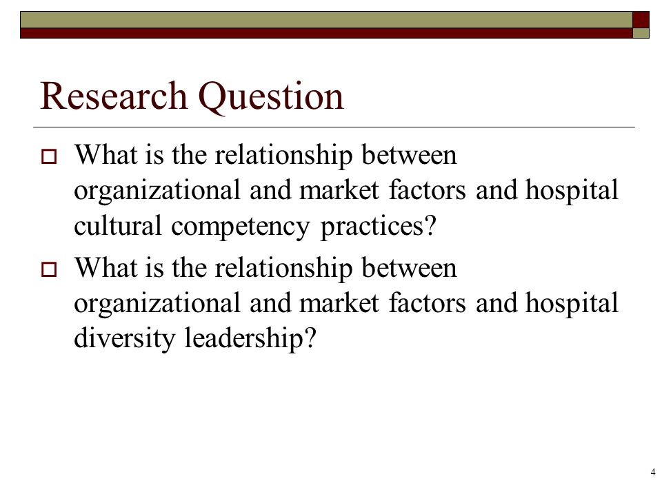 Research Question What is the relationship between organizational and market factors and hospital cultural competency practices