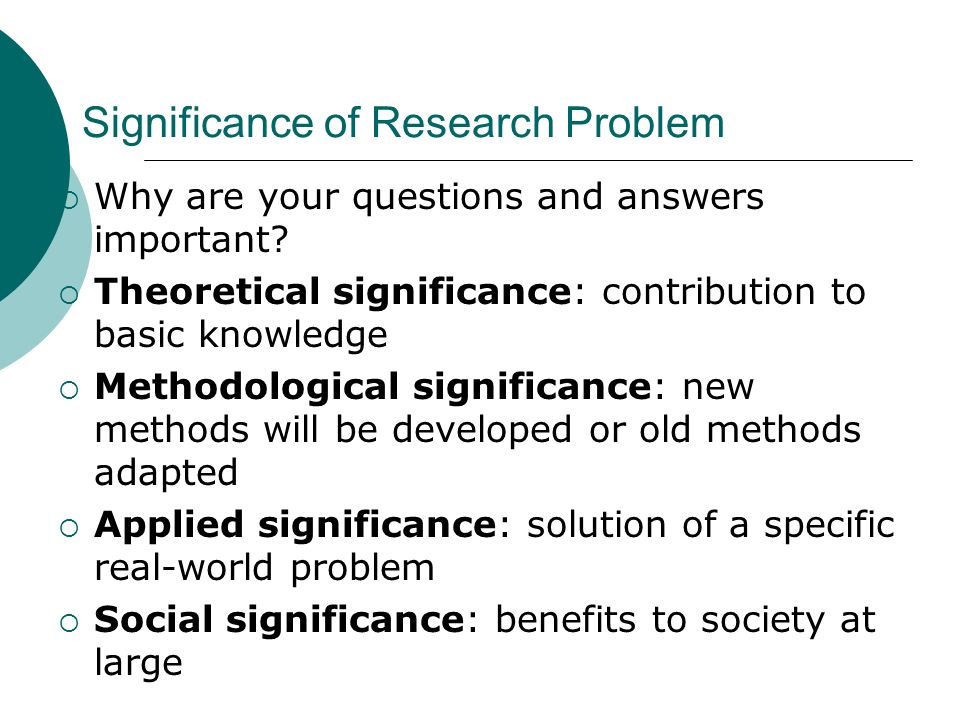Significance of Research Problem