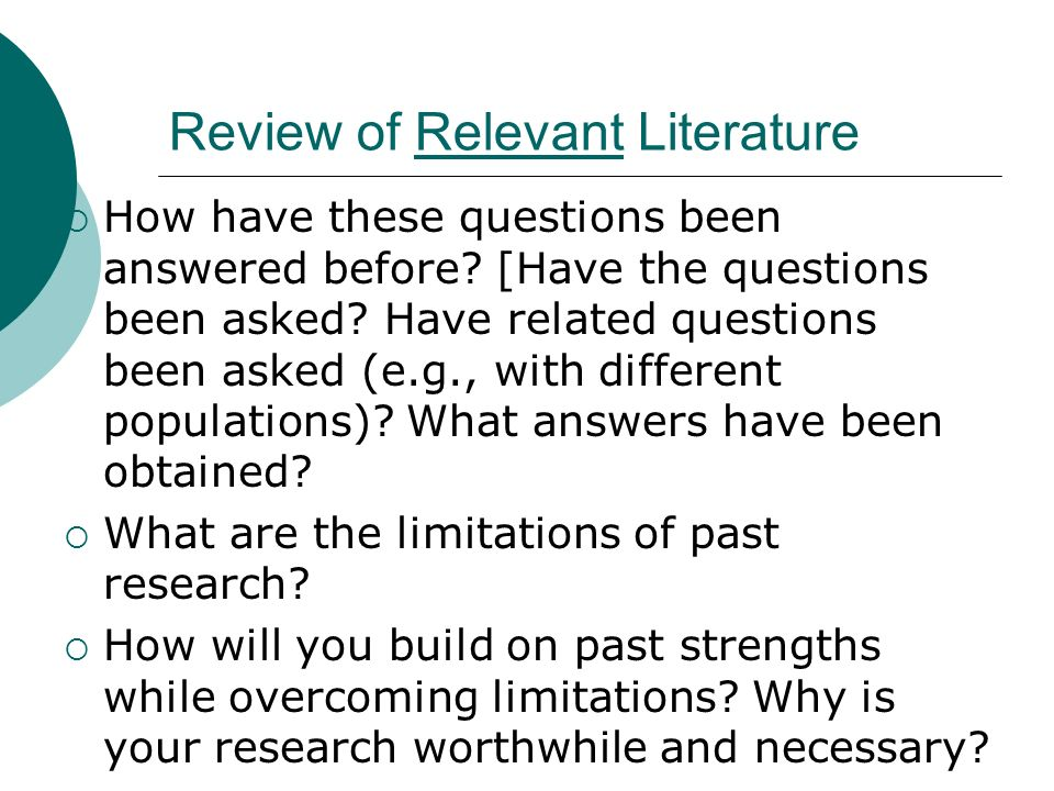 Review of Relevant Literature