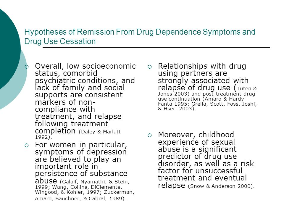 Hypotheses of Remission From Drug Dependence Symptoms and Drug Use Cessation