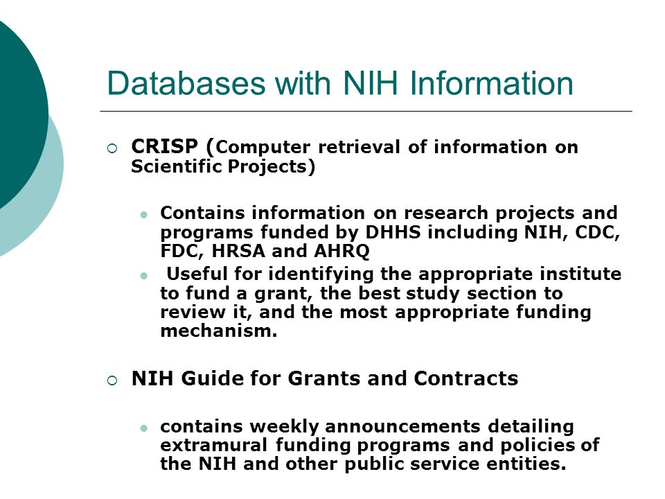Databases with NIH Information