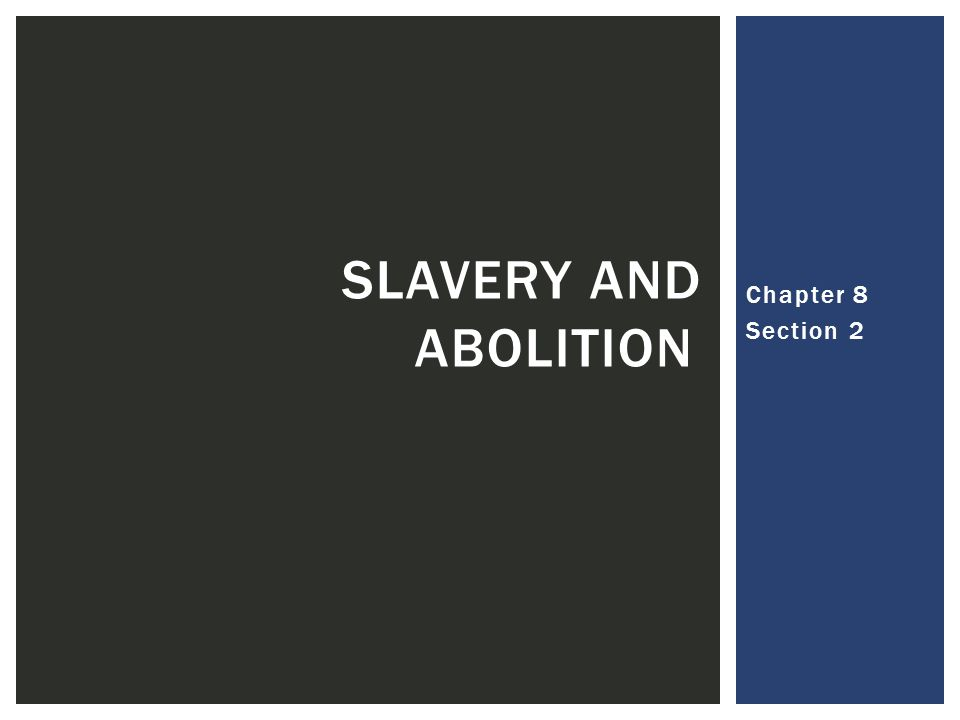 Slavery and Abolition Chapter 8 Section 2