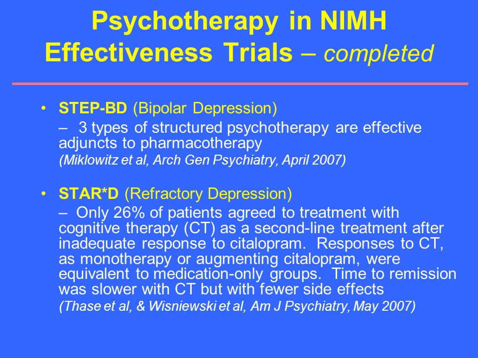 Psychotherapy in NIMH Effectiveness Trials – completed
