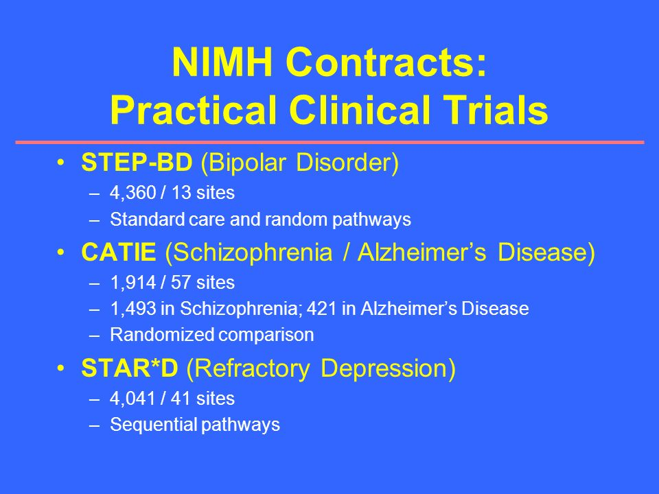 NIMH Contracts: Practical Clinical Trials