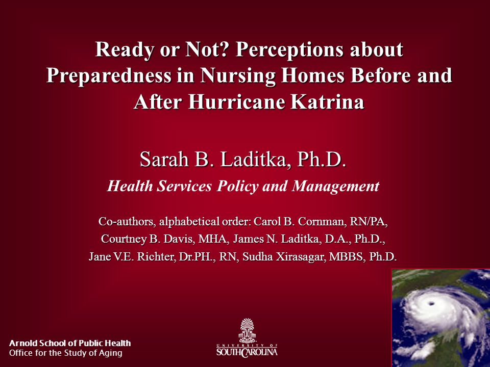 Ready or Not Perceptions about Preparedness in Nursing Homes Before and After Hurricane Katrina
