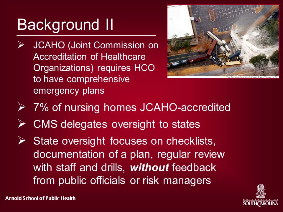 Background II 7% of nursing homes JCAHO-accredited
