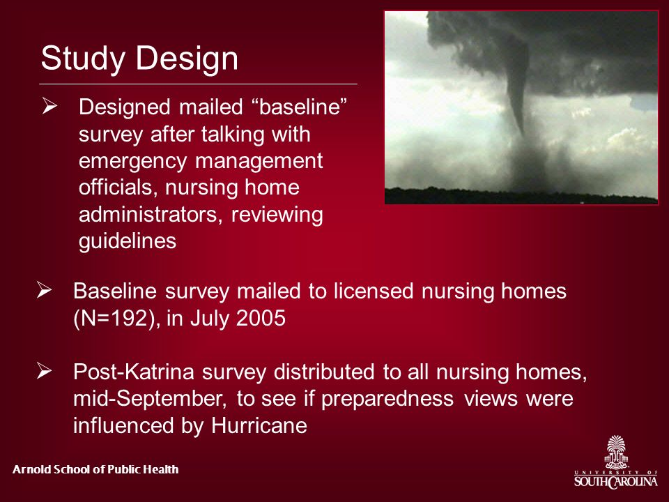 Study Design Designed mailed baseline survey after talking with emergency management officials, nursing home administrators, reviewing guidelines.