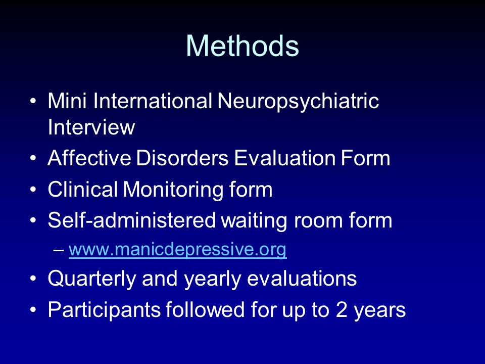 Methods Mini International Neuropsychiatric Interview