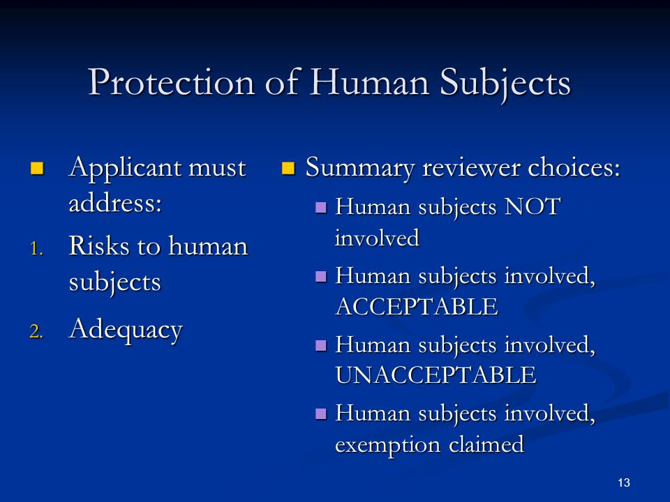 Protection of Human Subjects