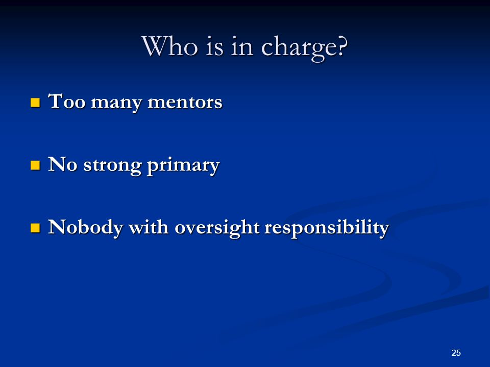 Who is in charge Too many mentors No strong primary