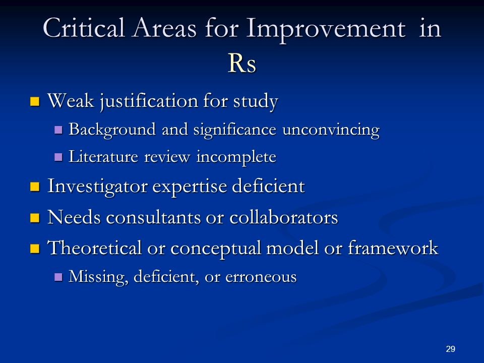 Critical Areas for Improvement in Rs