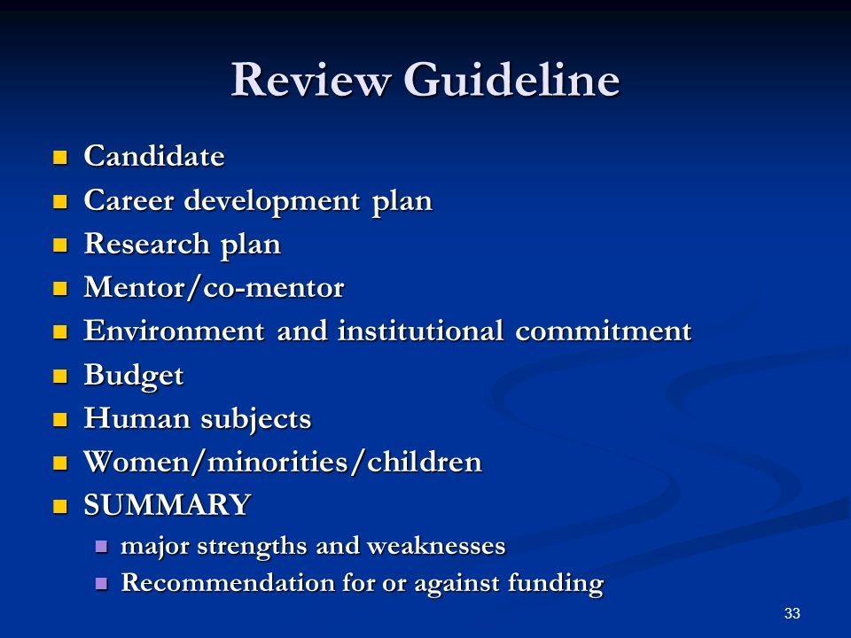Review Guideline Candidate Career development plan Research plan