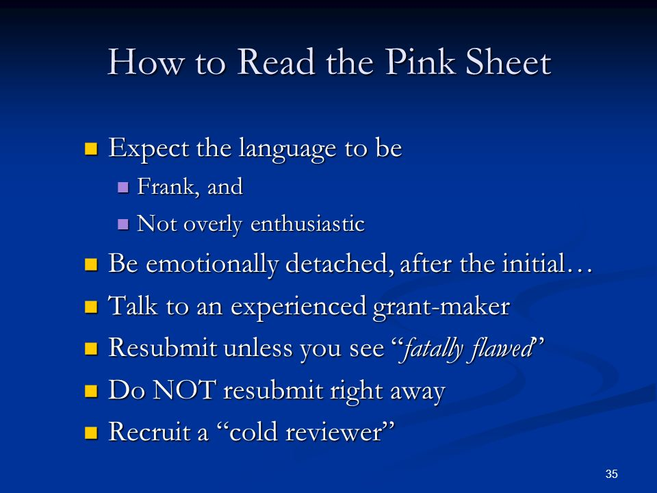 How to Read the Pink Sheet
