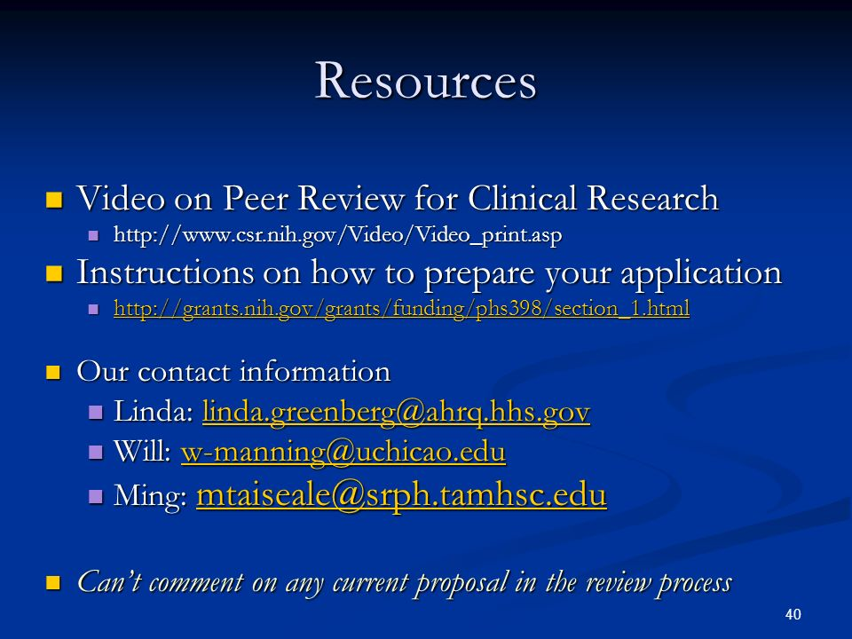 Resources Video on Peer Review for Clinical Research