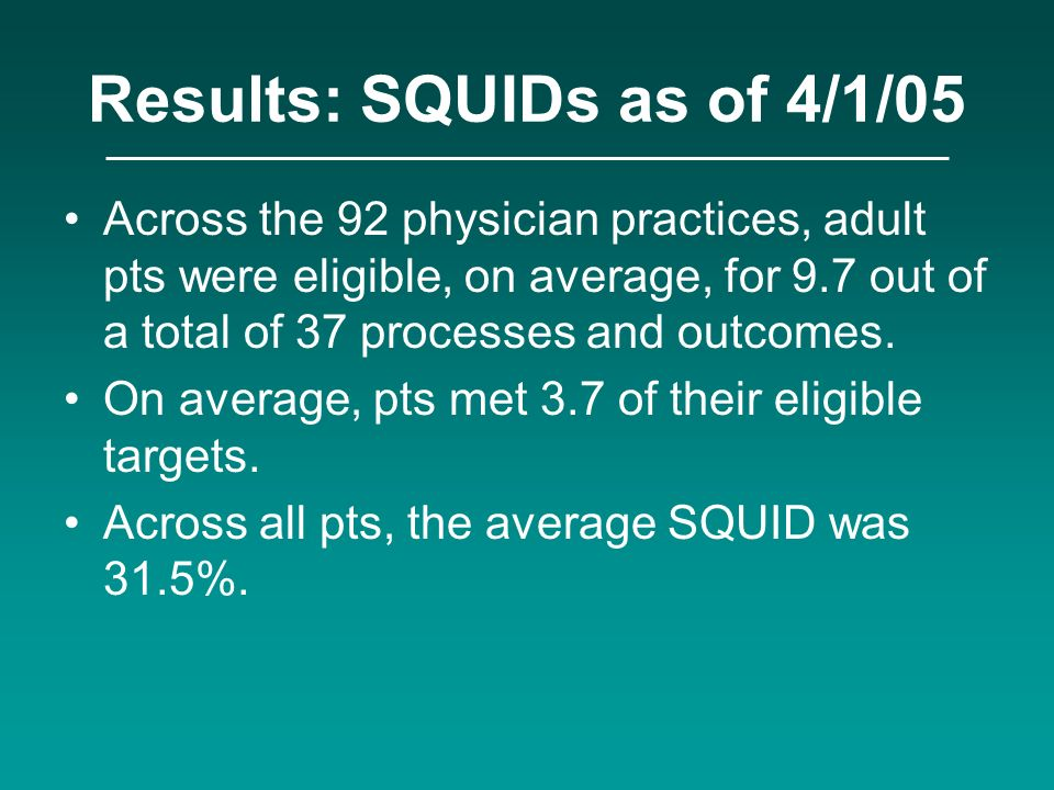 Results: SQUIDs as of 4/1/05