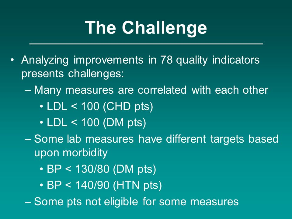 The Challenge Analyzing improvements in 78 quality indicators presents challenges: Many measures are correlated with each other.