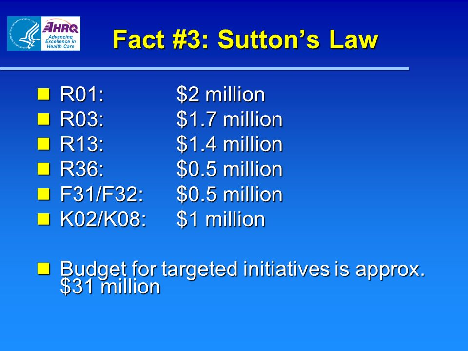 Fact #3: Sutton's Law R01: $2 million R03: $1.7 million
