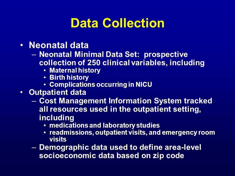 Data Collection Neonatal data