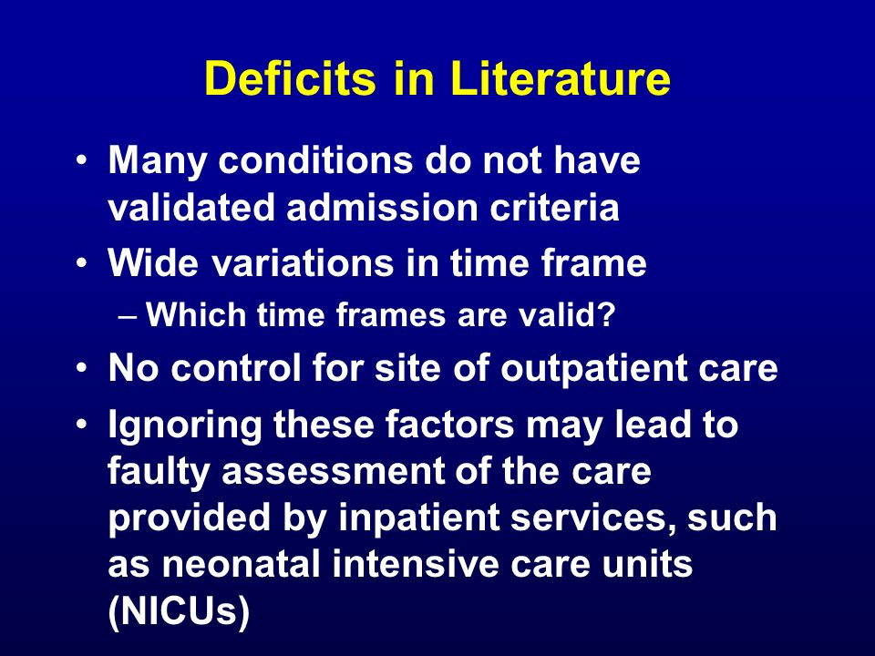 Deficits in Literature
