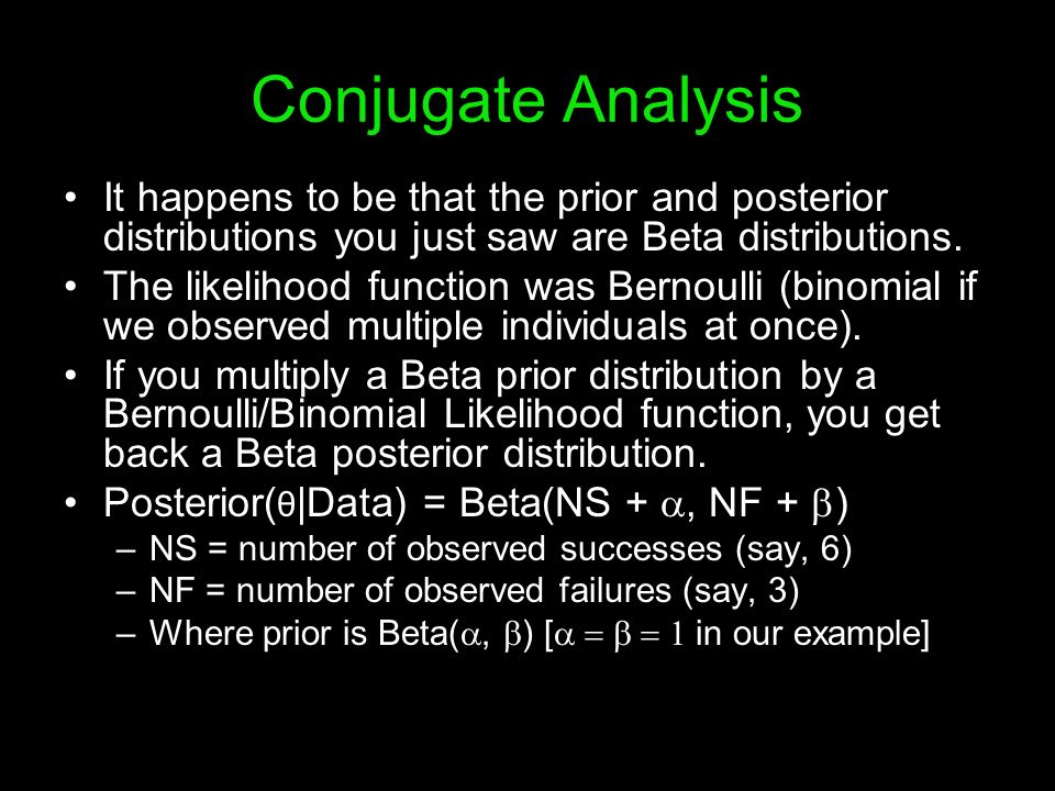 Conjugate Analysis It happens to be that the prior and posterior distributions you just saw are Beta distributions.