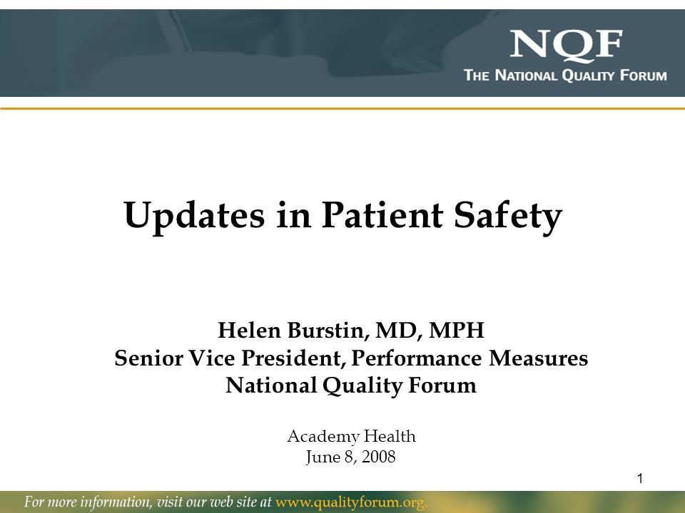 Updates in Patient Safety