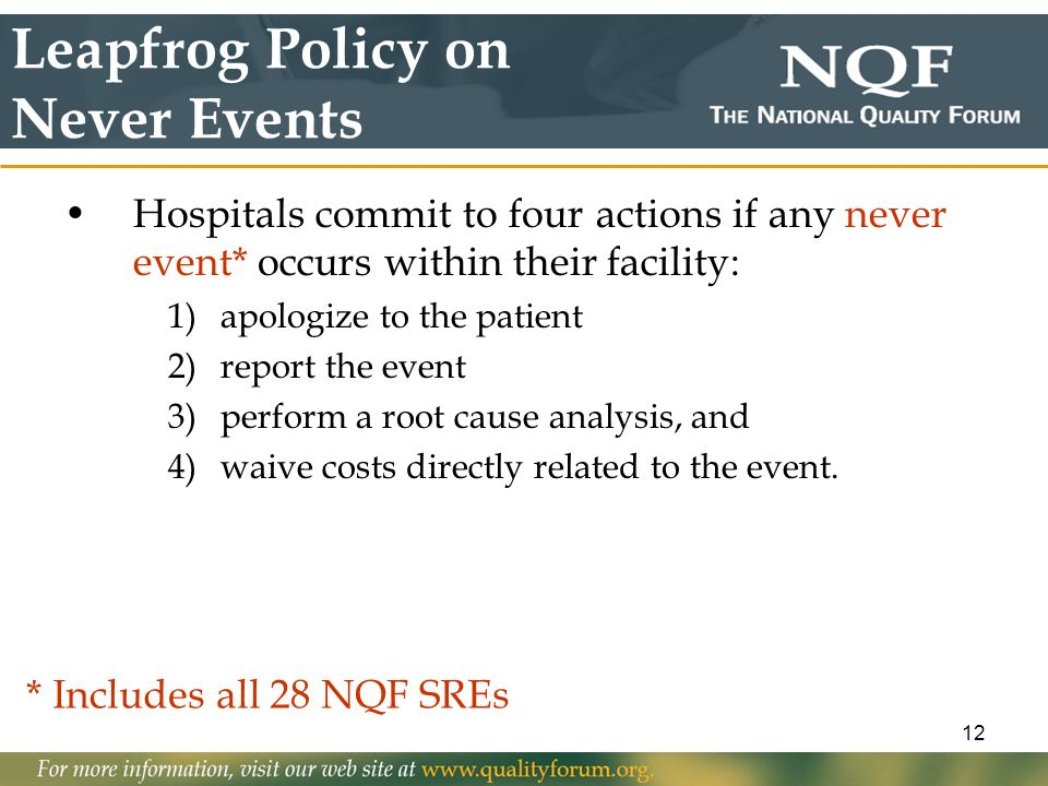 Leapfrog Policy on Never Events
