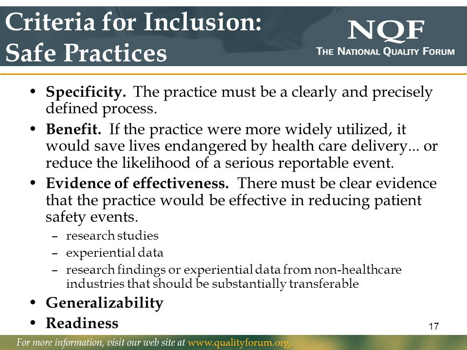 Criteria for Inclusion: Safe Practices