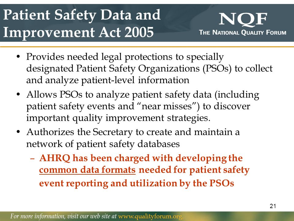 Patient Safety Data and Improvement Act 2005