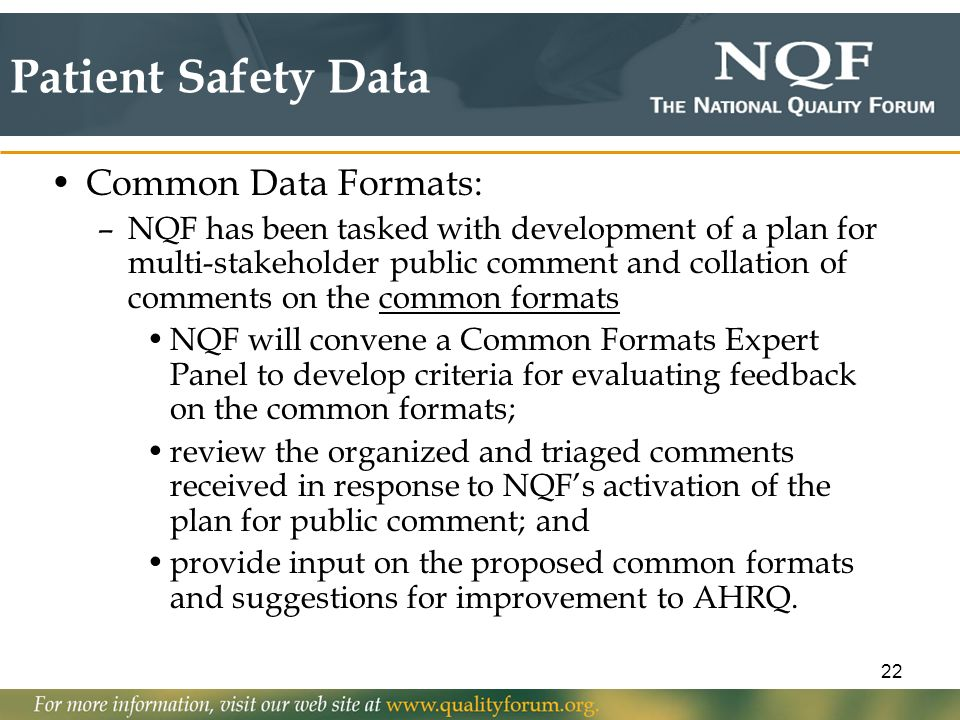 Patient Safety Data Common Data Formats: