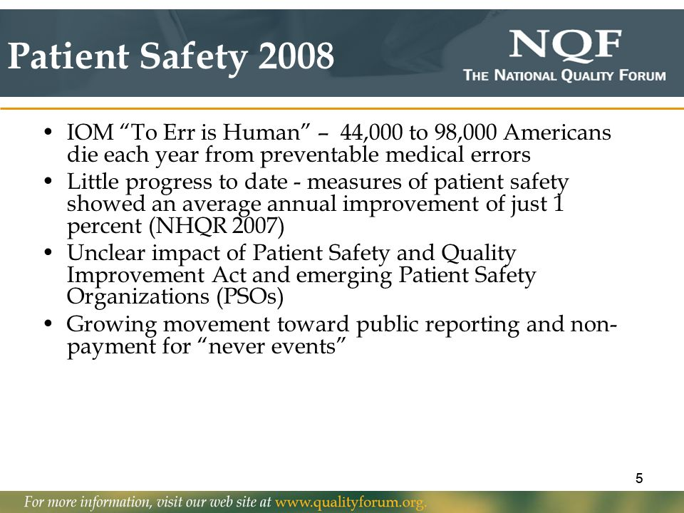 Patient Safety 2008 IOM To Err is Human – 44,000 to 98,000 Americans die each year from preventable medical errors.