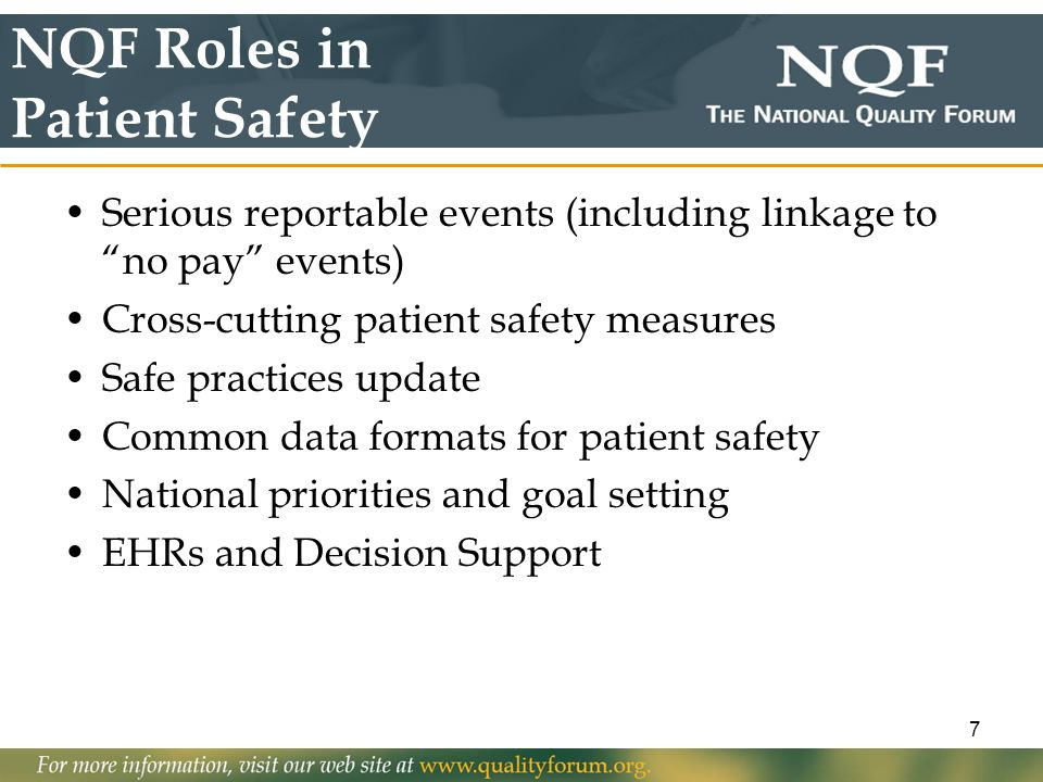 NQF Roles in Patient Safety
