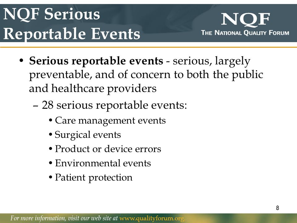 NQF Serious Reportable Events