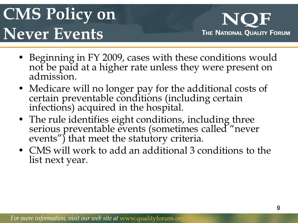 CMS Policy on Never Events
