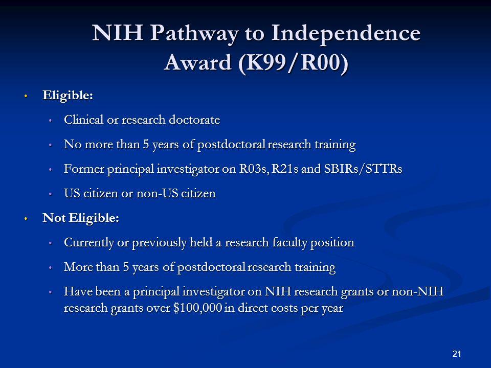 NIH Pathway to Independence Award (K99/R00)