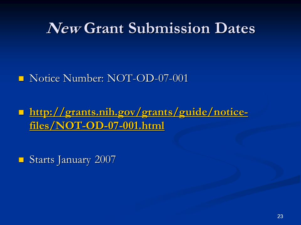 New Grant Submission Dates