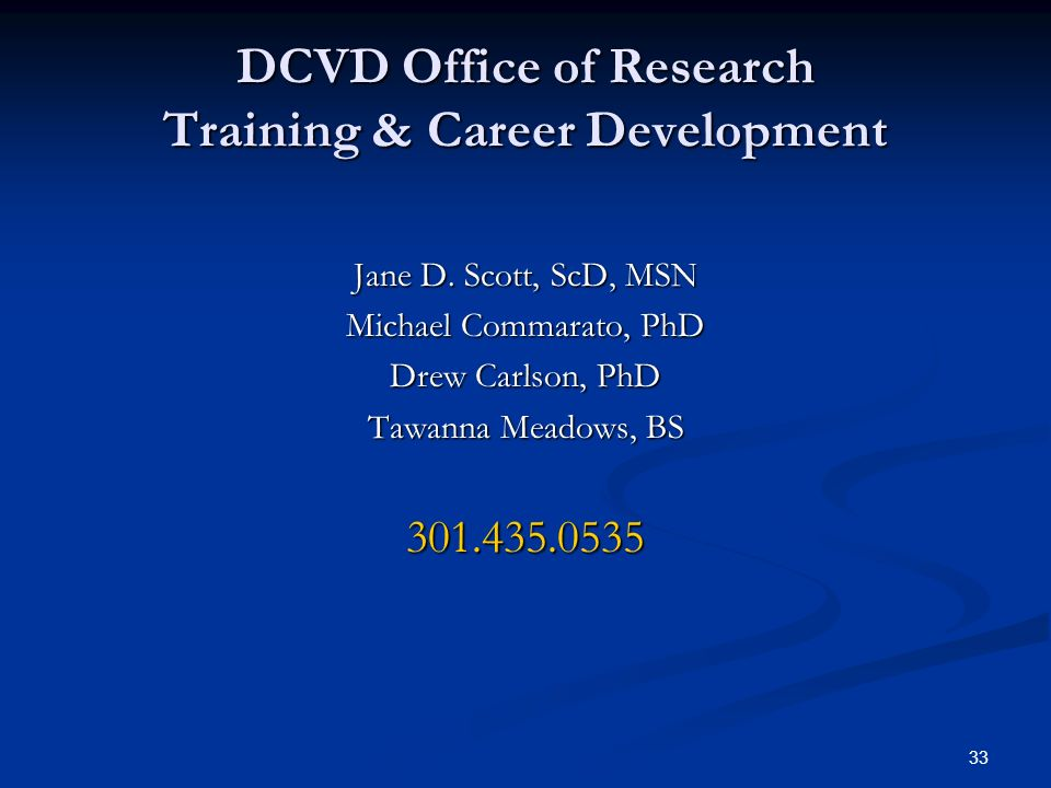 DCVD Office of Research Training & Career Development