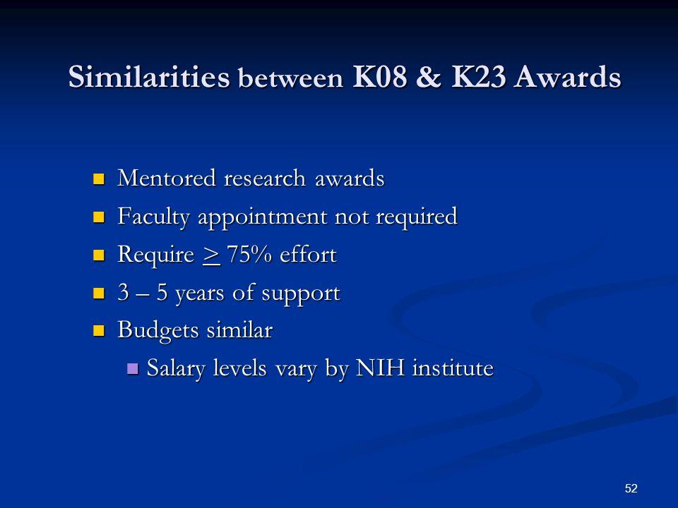 Similarities between K08 & K23 Awards
