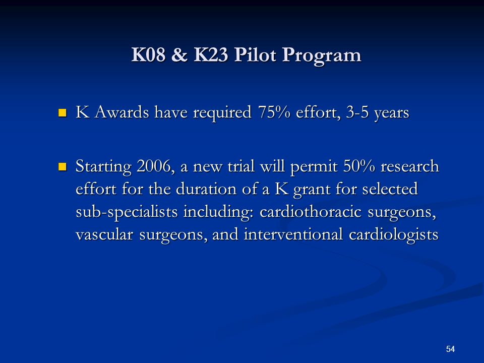 K08 & K23 Pilot Program K Awards have required 75% effort, 3-5 years