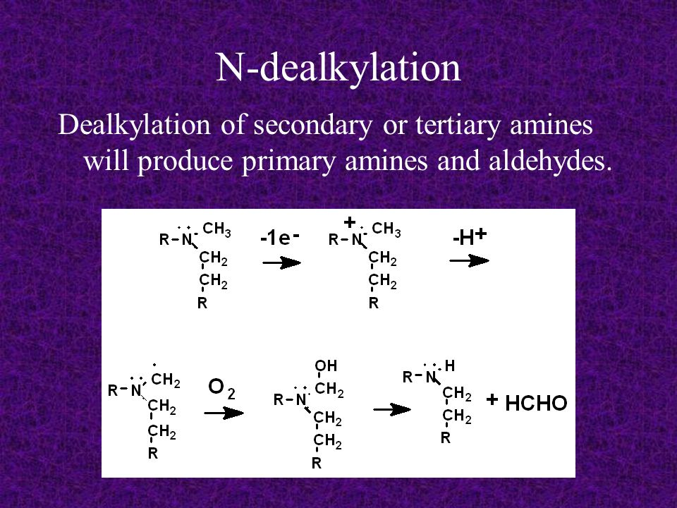 N-dealkylation Dealkylation of secondary or tertiary amines will produce primary amines and aldehydes.