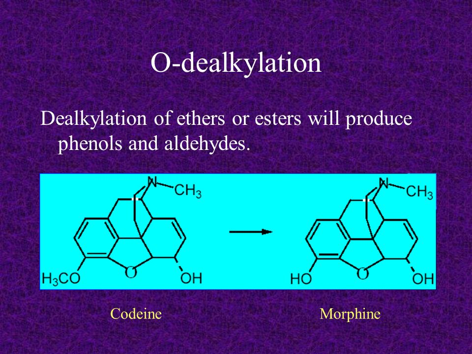 O-dealkylation Dealkylation of ethers or esters will produce phenols and aldehydes.