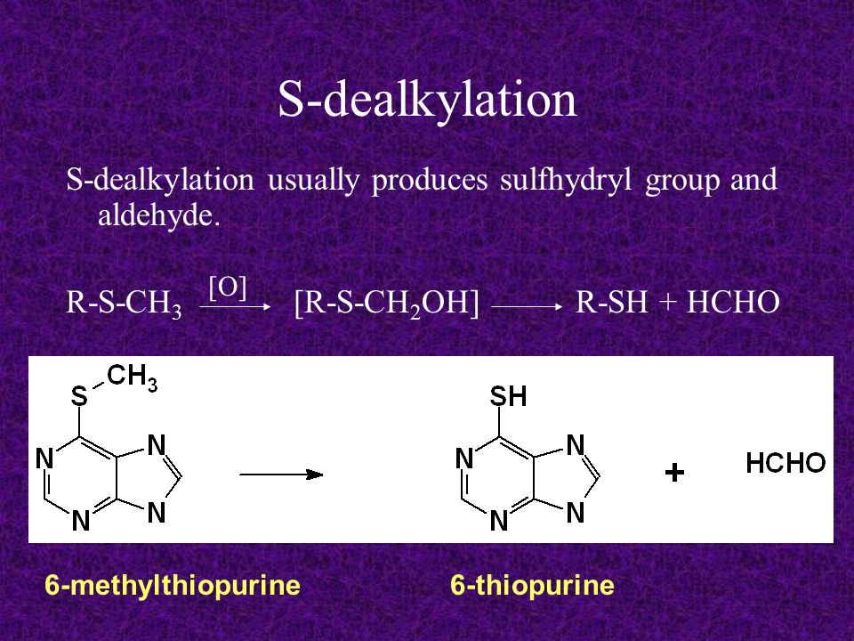 S-dealkylation S-dealkylation usually produces sulfhydryl group and aldehyde. R-S-CH3 [R-S-CH2OH] R-SH + HCHO.