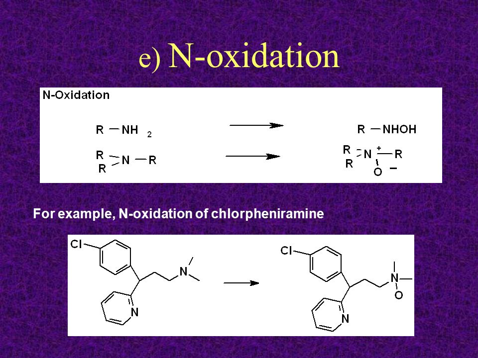 e) N-oxidation For example, N-oxidation of chlorpheniramine