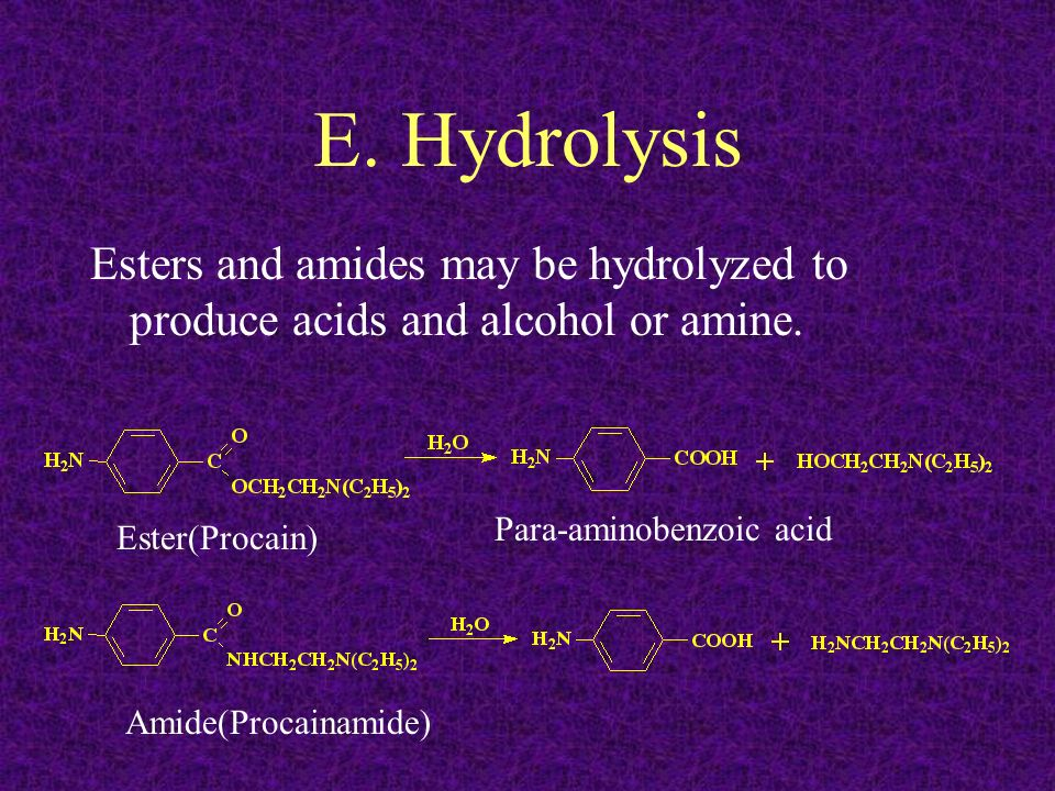 E. Hydrolysis Esters and amides may be hydrolyzed to produce acids and alcohol or amine. Para-aminobenzoic acid.