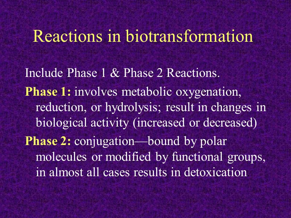 Reactions in biotransformation