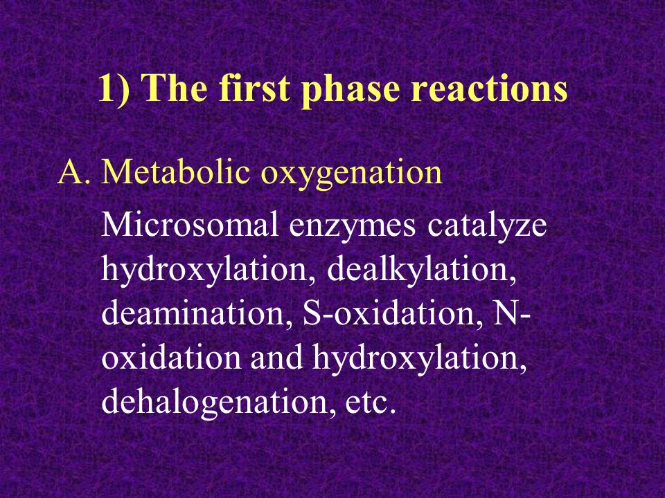 1) The first phase reactions
